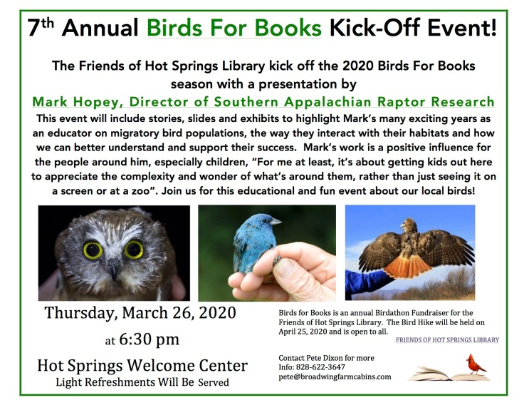 7th Annual Birds For Books KickOffEvent